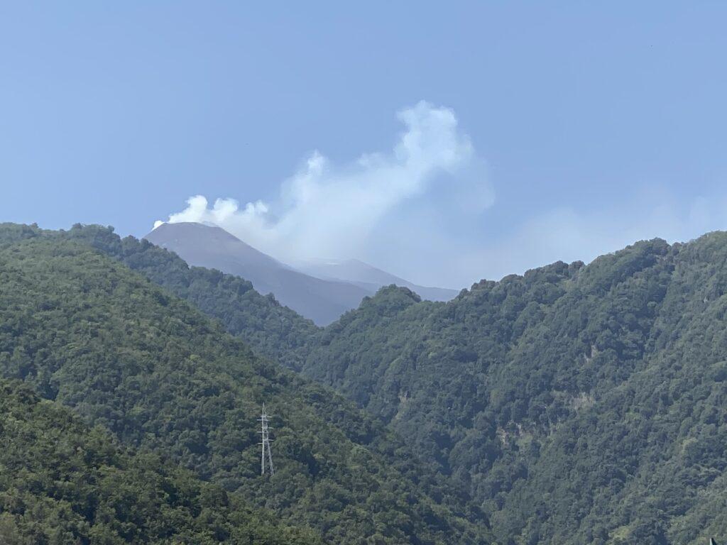 Smoke billowing in distance